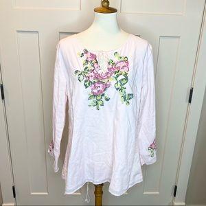J.JILL Embroidered Cotton Batiste Top Sz. L Petite